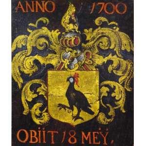 BRASÃO ANNO 1700 OBIIT. 18 MEY. <br />Original em pergaminho de época, aquarelado a mão e emoldurado, século XVIII. <br />Medidas: 49 x 41 cm. / 70 x 62 cm.