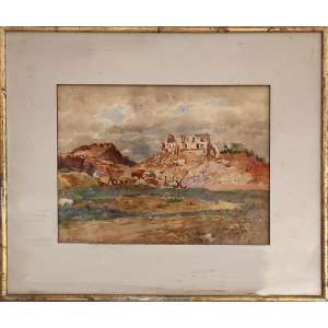 BENNO TREIDLER (Berlim, Alemanha 1857 - Rio de Janeiro RJ 1931).<br />Morro do Castelo, 1928.<br />Aquarela sobre papel 29 x 38,5 cm./<br />Medidas: 50 x 59,5 cm.<br />Assinada, localizada e data no canto inferior esquerdo, Rio de Janeiro 1928. <br /><br />BIOGRAFIA: Pintor, desenhista, aquarelista, decorador, cenógrafo, professor.<br /><br />Cursa a Academia de Belas Artes de Berlim, na Alemanha, entre 1875 e 1880, sendo aluno de Christian Wilberg e de Lechner. Por volta de 1870, trabalha como cenógrafo do Teatro Imperial de Berlim. Vem ao Rio de Janeiro em 1885, quando dá aulas de pintura. Fixa residência no Rio de Janeiro em 1891 e faz trabalhos de decoração no Banco do Brasil, no Edifício Gaffrée e na Fabrica de São Paulo. Em 1894, decora o teto do Salão de Honra da Sede do Jockey Club do Brasil. São seus alunos Ana Vasco, Maria Vasco e França Júnior.<br /><br />Críticas<br />O Sr. Treidler - affirmou Gonzaga Duque, possue a arte de mandar, tem a justeza, a precisão do golpe de pincel dos antigos especialistas em aquarella, e, em grande parte, essa certeza e proceder vieram-lhe dos seus estudos de scenographia em Berlim.<br />Carlos Rubens<br />RUBENS, Carlos. Pequena história das artes plásticas no Brasil. São Paulo: Nacional, 1941.<br /><br />(...) Sua atividade como cenógrafo contribuiu para que resolvesse com facilidade relativa vastas superfícies, e esse treino no teatro iria revelar-se de grande utilidade no Brasil, quando se viu obrigado a resumir, na bidimensionalidade de uma tela, o imenso e desconhecido cenário tropical. Dominara, além disso, com extrema mestria, a técnica da aquarela, que no Brasil, até o momento de sua chegada, não dispusera senão de alguns raros e discretos cultores.<br />José Roberto Teixeira Leite<br />LEITE, José Roberto Teixeira. Dicionário crítico da pintura no Brasil. Rio de Janeiro: Artlivre, 1988.<br /><br />Exposições Coletivas<br />1885 - Berlim (Alemanha) - Salão de Berlim<br />1890 - Rio de Janeiro RJ - Exposição Geral d