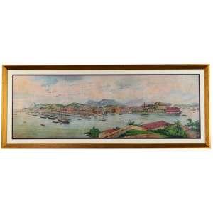 Enrique Casanova <br />Panorama do Rio de Janeiro, tomado da Ilha das Cobras, 1883 <br />Litografia aquarelada<br />Medidas: 36,5 x 108,5 cm. / 51,5 x 127 cm.<br />Encontra-se assinada: E. Casanova 1893<br /><br />Reproduzido na página 359 do livro Paisagem do Rio de Janeiro - Aquarelas, Desenhos e Gravuras dos Artistas Viajantes - 1790 - 1890, autoria de George Ermakoff, editado em 2011 por G. Ermakoff Casa Editorial - Rio de Janeiro.<br /><br />Enrique Casanova (Saragoça, 1850 – Madrid, 1913) foi um pintor aguarelista espanhol que veio para Portugal em 1880 como refugiado político.<br /><br />Em Portugal adquiriu grande notoriedade, tendo sido mestre da casa real, tendo entre os seu alunos D. Luís I e D. Carlos I, ambos bons aguarelistas. Pintou retratos da família real portuguesa, sendo muito conhecido, pela sua ternura, o retrato da rainha D. Maria Pia e seu neto D. Luís Filipe.<br /><br />Dirigiu a revista de arqueologia A Arte Portuguesa (1895) e teve colaboração artística em várias publicações periódicas O António Maria (1879-1885;1891-1898), Branco e Negro (1896-1898) e Serões (1901-1911).<br /><br />Contribuiu com ilustrações científicas para a obra Herpetologie d'Angola et du Congo (1895) de José Vicente Barbosa du Bocage (1823-1907).<br /><br />Obras:<br /><br />Aguarelas do Palácio Nacional de Sintra<br />Sala de Despacho de El-Rei D. Luís I no Palácio Nacional da Ajuda<br />Gabinete de Trabalho de El-Rei D. Luís I<br />Quarto de D. Luís I<br />Sala dos Cisnes<br />Casa de Jantar (actual Sala das Pegas)<br />Sala Azul (Palácio Nacional da Ajuda)<br /><br />Fonte: https://monarquiaportuguesa.blogs.sapo.pt/enrique-casanova-mestre-da-casa-real-539874