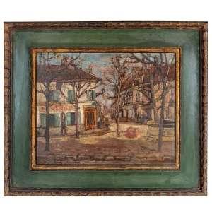 ESCOLA DE MAURICE UTRILLO (Montmartre, 1883 - Dax, 1955) <br />França, Década de 1920<br />Óleo sobre madeira. <br />Paisagem urbana. No verso esboços de outra pintura: paisagem lacustre com ponte.<br />Medidas:51 x 62 cm. / 78 x 89 cm.<br />