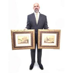 L. LEPELLIER - França. Séc. XX - Paisagens Francesas. Par de aquarelas. Uma ass. cid. e outra com monograma. Moldura de época. <br />Medidas: 17 x 22 cm. / 44 x 49 cm. (cada)