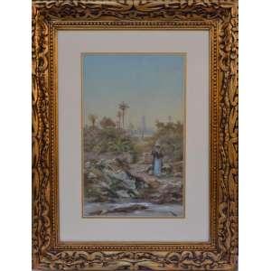 Henri Charles Langerock - Bélgica 1830 – França 1915<br />Artista viajante<br />Medidas: 46 x 29 cm. <br />Com moldura: 76,5 x 60 cm.<br /><br />Paisagem Orientalista <br /><br /><br />Em 1850, começa a cursa a Academia de Artes de Gand na Belgica. <br />Entre 1879 e 1884, expõe no Salão de Paris. <br />Em 1881, no Brasil, produz a tela Arredores da Tijuca. <br />Em 1885, executa o quadro A Família Imperial e o Corcovado, <br />Em 1885, torna-se sócio do pintor e desenhista Victor Meirelles em um atelier de panoramas. <br />Em 1886 e doa a tela Valle de Saint-Vaumerout em Auvergne à Academia Imperial de Belas Artes (Aiba). Na ocasião, torna-se membro correspondente da instituição. <br />Entre 1886 e 1888, na Bélgica, executa com Meirelles o Panorama do Rio de Janeiro. <br />Ainda em 1888, produz o quadro La Montagne de L'Or Noire – Ouro Preto, Brésil. <br />Cinco anos após sua morte, seu atêlie vai à leilão com vários de seus quadros.