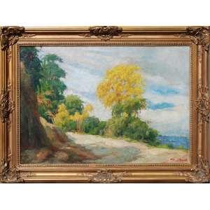ESCOLA NACIONAL DE BELAS ARTES - MEDALHA DE OURO / PREMIO VIAGEM<br /><br />PEDRO BRUNO (1888 - 1949) <br />O.S.T.<br />Ipê amarelo, na subida da serra, vista do mar ao fundo<br />Medidas: 49,5 x 73 cm. / 65 x 88 cm.<br /><br />Em 1897, conheceu o pintor Giovanni Battista Castagneto, de que tornou-se discípulo.<br />Em 1905, com voz de barítono. aos quatorze anos, foi estudar no Conservatório de Nápoles e de Roma, retornando diplomado em canto lírico, trabalhou no Conservatório de Música do Rio de Janeiro.<br />Autodidata, em 1912, recebeu a Medalha de Bronze, do Salão de Belas Artes.<br />Em 1918 ingressou na Escola Nacional de Belas Artes e estudou com o grande mestre Baptista da Costa.<br /><br />Em 1919, feito inédito, em apenas um ano de estudo o Conselho Superior de Belas Artes conferiu-lhe o Prêmio de Viagem da 26ª Exposição Geral.<br /><br />Em 1920, ao chegar em Roma, bruno inscreveu-se para a prova de admissão ao curso de pintura da Academia Inglesa, famosa instituição de ensino artístico classificando em 3º lugar. Decorridos apenas seis meses de sua matrícula, já era convidado pelos dirigentes da instituição para reger aulas de modelo vivo.<br />Na Itália, estão vários quadros, dois no Museu de Salerno e em galerias particulares.<br /><br />De volta ao Brasil em 1922, ano de seu regresso, conquistou a Medalha de Ouro do Salão de Belas Artes.<br /><br />Em 1924, pintor foi grande colaborador do Salão Paulista de Belas Artes até o ano anterior ao de sua morte. Em retribuição, dentre outras homenagens, a Prefeitura da Cidade de São Paulo batizou com seu nome uma rua do bairro de Butantã.<br /><br />O último grande trabalho de bruno foi a tela Gonçalves Dias, pintada no ano anterior ao de sua morte. Em 1948, Pedro recebeu a maior homenagem em vida: um busto seu foi erguido na praça que leva seu nome. A obra, idealizada por Paulo Mazucheli, tem como legenda: O poeta da cor, das árvores e dos pássaros.<br />Em 1950, através do Projeto de Lei nº 61, a câmara apr