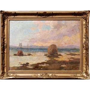 ESCOLA NACIONAL DE BELAS ARTES - MEDALHA DE OURO / PREMIO VIAGEM<br /><br />PEDRO BRUNO (1888 - 1949) <br />O.S.T.<br />Medidas: 47 x 65 cm.<br />60 x 79 cm.<br />Vista de Paquetá para a Baía de Guanabara ao Pôr do Sol<br /><br />Em 1897, conheceu o pintor Giovanni Battista Castagneto, de que tornou-se discípulo.<br />Em 1905, com voz de barítono. aos quatorze anos, foi estudar no Conservatório de Nápoles e de Roma, retornando diplomado em canto lírico, trabalhou no Conservatório de Música do Rio de Janeiro.<br />Autodidata, em 1912, recebeu a Medalha de Bronze, do Salão de Belas Artes.<br />Em 1918 ingressou na Escola Nacional de Belas Artes e estudou com o grande mestre Baptista da Costa.<br /><br />Em 1919, feito inédito, em apenas um ano de estudo o Conselho Superior de Belas Artes conferiu-lhe o Prêmio de Viagem da 26ª Exposição Geral.<br /><br />Em 1920, ao chegar em Roma, bruno inscreveu-se para a prova de admissão ao curso de pintura da Academia Inglesa, famosa instituição de ensino artístico classificando em 3º lugar. Decorridos apenas seis meses de sua matrícula, já era convidado pelos dirigentes da instituição para reger aulas de modelo vivo.<br />Na Itália, estão vários quadros, dois no Museu de Salerno e em galerias particulares.<br /><br />De volta ao Brasil em 1922, ano de seu regresso, conquistou a Medalha de Ouro do Salão de Belas Artes.<br /><br />Em 1924, pintor foi grande colaborador do Salão Paulista de Belas Artes até o ano anterior ao de sua morte. Em retribuição, dentre outras homenagens, a Prefeitura da Cidade de São Paulo batizou com seu nome uma rua do bairro de Butantã.<br /><br />O último grande trabalho de bruno foi a tela Gonçalves Dias, pintada no ano anterior ao de sua morte. Em 1948, Pedro recebeu a maior homenagem em vida: um busto seu foi erguido na praça que leva seu nome. A obra, idealizada por Paulo Mazucheli, tem como legenda: O poeta da cor, das árvores e dos pássaros.<br />Em 1950, através do Projeto de Lei nº 61, a câmara a