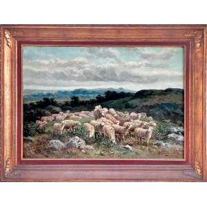 PEINTRE DE L'ÉCOLE DE BARBIZON<br /><br />Charles Ferdinand Ceramano - 1831 Bélgica / 1909 Barbizon (França)<br />Medidas: 65 x 92 cm. / 89 x 115 cm.<br />O.S.T.<br />Ovelhas<br /><br />Nascido em Tielt, Bélgica, em 1829, Charles-Ferdinand Ceramano foi autodidata junto com Charles Jacque e os dois colaboraram em projetos regularmente. <br />Seu trabalho finalmente cresceu com uma firme especialização em cenas pastorais, especificamente focada em rebanhos de ovelhas. <br />Em última análise, Ceramano seria o último pintor dos grupos Millet e Théodore Rousseau na Escola Barbizon.<br /><br />Expôs no Salons des Artistes Français em 1893, 1895 e 1897. <br />Tendo passado os últimos 40 anos de sua vida em Barbizon, França, <br />Ceramano foi sepultado em Barbizon em 1909.<br /><br />Leituras: <br /><br />Dicionário de Artistas E. Benezit, Vol. III, Gründ, 2006, p. 658-659. <br />Lexicon of the Belgian Romantic Painters, Flippo, Antwerpen, 1981.<br />Dicionário de pintores belgas nascidos entre 1750 e 1875, Berko, 1981.<br /><br />https://fr.wikipedia.org/wiki/Charles_Ferdinand_Ceramano