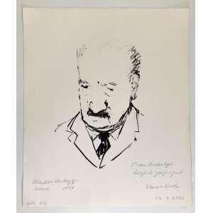 LITHO 1964.<br />39x32,5 cm. <br />Retratando o filósofo alemão MARTIN HEIDEGGER (1889 – 1976) <br />Com dedicatória em alemão do Editor HANS KOCH para OSCAR NIEMEYER em 12/03/2006.<br /><br />Procedência: Kadu Niemeyer, neto e herdeiro de Oscar Niemeyer.<br />