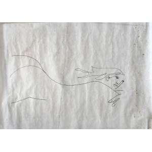 OSCAR NIEMEYER (1907-2012)<br />Desenho, caneta pilot sobre papel vegetal.<br />Medidas: 100 X 70 cm.<br />NU FEMININO<br />