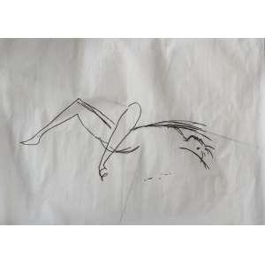 OSCAR NIEMEYER (1907-2012)<br />Desenho, caneta pilot sobre papel vegetal.<br />Medidas: 50 X 70 cm.<br />NU FEMININO<br />