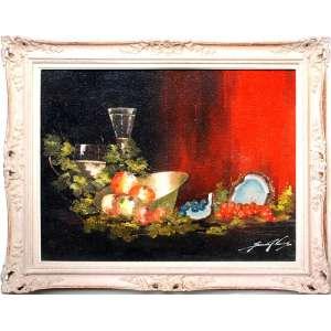 SANSÃO PEREIRA (1919 – 2014) <br />Medidas: 80 x 100 cm. / 105 x 125 cm. <br />Óleo sobre tela de Juta.<br />Composição com coco, uvas e romãs