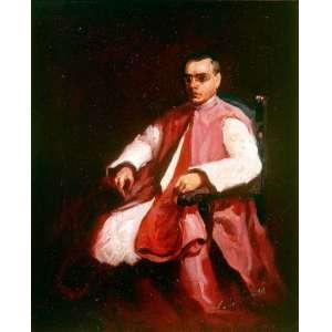 """Candido Portinari<br />Medidas: 28,3 x 20,2 cm.<br />Pintura à óleo sobre cartão.<br />Retrato do Monsenhor André Arcoverde de Albuquerque Cavalcanti<br />FCO: 4669<br />CR: 74<br />DATA: 1926<br /><br />Candido Portinari nasceu em Brodowski, no estado de São Paulo em 30 de dezembro de 1903 dois dias antes de 1904, o não da eclosão da Revolta da Vacina, contra a vacinação obrigatória, na cidade do Rio de Janeiro.<br />Semelhante a Picasso, começa a pintar aos 9 anos e, torna-se um dos maiores pintores da história tendo a O.N.U. abdicado de uma Tapeçaria da Guernica pelos painéis Guerra e Paz de Portinari.<br />Em 1920 com quinze anos, matricula-se na Escola Nacional de Belas-Artes e em 1928 com apenas 24 anos conquistou o Prêmio de Viagem à Europa. <br />Em 1922 recebe Menção Honrosa por um retrato, provavelmente de seu amigo Ezequiel Fonseca Filho.<br />Em 1927 com Retrato do Dr. Antônio Ferreira dos Santos recebe a Grande Medalha de Prata da XXXIV Exposição Geral de Belas Artes da Escola Nacional de Belas Artes.<br />Possibilitando, em 1928, na XXXV Exposição Geral de Belas Artes ganhar o Prêmio de Viagem à Europa, com mais um retrato o de Olegario Mariano<br />Em Paris, mora momentaneamente, em Montparnasse, reduto de artistas, porém, muda-se para o Hôtel du Dragon na mesma rua da Académie Julien, que frequenta e, no ano de 1930, percebe sua vocação: """"Vou pintar aquela gente com aquela roupa e com aquela cor…""""<br />Antonio Callado escreve no magnifico livro de Portinari: """"...arte que ensina os brasileiros a amarem mais sua terra...""""<br />Retorna em 1931 e, põe-se a retratar com cores fortes a pobreza, as dificuldades, a dor do povo, da cultura, da flora, da fauna e da história. Pintando em 1934 """"Despojados"""" - a obra de temática social. Neste ano, a primeira instituição pública adquire obra, """"Mestiço"""", pela Pinacoteca do Estado de São Paulo. <br />Em 1935, no Instituto de Artes da Universidade do Distrito Federal (UDF), Rio de Janeiro. Conquista com a tela """"Café"""" """