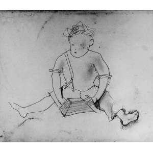 """Candido Portinari<br />Menino com arapuca<br />Desenho a grafite sobre papel colado em cartão<br />Medidas: 14 x 16,5 cm.<br />1933<br /><br />Estudo para os desenhos Infância e Menino com arapuca e para a pintura Menino Sentado. Reproduzido nos livros: Catálogo Raisonné - Vol. I, pág. 234; Portinari - A Construção de uma obra, Ed. Dom Quixote, pág. 56; Portinari, o menino de Brodósqui: retalhos da minha vida de infância, Candido Portinari, 1979, pág. 71. FCO 542<br /><br />Candido Portinari nasceu em Brodowski, no estado de São Paulo em 30 de dezembro de 1903 dois dias antes de 1904, o não da eclosão da Revolta da Vacina, contra a vacinação obrigatória, na cidade do Rio de Janeiro.<br />Semelhante a Picasso, começa a pintar aos 9 anos e, torna-se um dos maiores pintores da história tendo a O.N.U. abdicado de uma Tapeçaria da Guernica pelos painéis Guerra e Paz de Portinari.<br />Em 1920 com quinze anos, matricula-se na Escola Nacional de Belas-Artes e em 1928 com apenas 24 anos conquistou o Prêmio de Viagem à Europa. <br />Em 1922 recebe Menção Honrosa por um retrato, provavelmente de seu amigo Ezequiel Fonseca Filho.<br />Em 1927 com Retrato do Dr. Antônio Ferreira dos Santos recebe a Grande Medalha de Prata da XXXIV Exposição Geral de Belas Artes da Escola Nacional de Belas Artes.<br />Possibilitando, em 1928, na XXXV Exposição Geral de Belas Artes ganhar o Prêmio de Viagem à Europa, com mais um retrato o de Olegario Mariano<br />Em Paris, mora momentaneamente, em Montparnasse, reduto de artistas, porém, muda-se para o Hôtel du Dragon na mesma rua da Académie Julien, que frequenta e, no ano de 1930, percebe sua vocação: """"Vou pintar aquela gente com aquela roupa e com aquela cor…""""<br />Antonio Callado escreve no magnifico livro de Portinari: """"...arte que ensina os brasileiros a amarem mais sua terra...""""<br />Retorna em 1931 e, põe-se a retratar com cores fortes a pobreza, as dificuldades, a dor do povo, da cultura, da flora, da fauna e da história. Pintando em 193"""