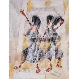 """Candido Portinari<br />Duas Índias Carajás<br />Desenho a grafite, nanquim bico-de-pena, crayon e crayon colorido sobre papel <br />Medidas: 27,2 x 21,2 cm.<br />C. 1960<br /><br />Reproduzido nos livros: Catalogue Raisonné - Vol. IV, pág. 471; Portinari - A Construção de uma obra, Ed. Dom Quixote, pág. 200. FCO 4732<br /><br />Candido Portinari nasceu em Brodowski, no estado de São Paulo em 30 de dezembro de 1903 dois dias antes de 1904, o não da eclosão da Revolta da Vacina, contra a vacinação obrigatória, na cidade do Rio de Janeiro.<br />Semelhante a Picasso, começa a pintar aos 9 anos e, torna-se um dos maiores pintores da história tendo a O.N.U. abdicado de uma Tapeçaria da Guernica pelos painéis Guerra e Paz de Portinari.<br />Em 1920 com quinze anos, matricula-se na Escola Nacional de Belas-Artes e em 1928 com apenas 24 anos conquistou o Prêmio de Viagem à Europa. <br />Em 1922 recebe Menção Honrosa por um retrato, provavelmente de seu amigo Ezequiel Fonseca Filho.<br />Em 1927 com Retrato do Dr. Antônio Ferreira dos Santos recebe a Grande Medalha de Prata da XXXIV Exposição Geral de Belas Artes da Escola Nacional de Belas Artes.<br />Possibilitando, em 1928, na XXXV Exposição Geral de Belas Artes ganhar o Prêmio de Viagem à Europa, com mais um retrato o de Olegario Mariano<br />Em Paris, mora momentaneamente, em Montparnasse, reduto de artistas, porém, muda-se para o Hôtel du Dragon na mesma rua da Académie Julien, que frequenta e, no ano de 1930, percebe sua vocação: """"Vou pintar aquela gente com aquela roupa e com aquela cor…""""<br />Antonio Callado escreve no magnifico livro de Portinari: """"...arte que ensina os brasileiros a amarem mais sua terra...""""<br />Retorna em 1931 e, põe-se a retratar com cores fortes a pobreza, as dificuldades, a dor do povo, da cultura, da flora, da fauna e da história. Pintando em 1934 """"Despojados"""" - a obra de temática social. Neste ano, a primeira instituição pública adquire obra, """"Mestiço"""", pela Pinacoteca do Estado de São Paulo"""