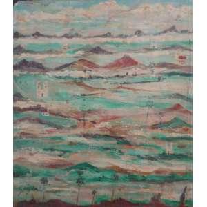 Alberto da Veiga Guignard (Nova Friburgo, 25 de fevereiro de 1896 — Belo Horizonte, 25 de junho de 1962). <br />Riquíssima obra, em óleo sobre cartão. Uma obra prima em minúsculas dimensões, representando as Montanhas de Minas, igrejas, araucárias.<br />Medindo 12,5 x 10 cm.<br />Essa obra foi doada pelo proprio artista ao moldureiro espanhol, Sr. Jesus, localizado à época na rua do Matosa N 28, na praça da Bandeira, Rio de Janeiro. Em 2007 foi reproduzida no catálogo e vendida pela Galeria Vitor Braga de Belo Horizonte.<br />Ficou órfão de pai ainda menino, a mãe se casou com um barão alemão, com quem se mudaram para a Alemanha onde viveu dos onze aos 33 anos. Frequentou as academias de Belas Artes de Florença e Munique, onde estudou com Herman Groeber e Adolf Engeler,<br />No Brasil, ao lado de Cândido Portinari, Ismael Nery Volpi, Tarsila e Di Cavalcanti é um dos nomes representativos.<br />Orientou um grupo do qual participou Iberê Camargo. Nesta época, a convite de Juscelino Kubitschek em Belo Horizonte, instalou um curso de desenho e pintura no recém-criado Instituto de Belas Artes.Em 1953, foi-lhe dedicada uma retrospectiva no Museu de Arte Moderna do Rio de Janeiro e, em 1992, no Museu Lasar Segall. Hoje, o instituto se chama Escola Guignard em Belo Horizonte <br />O Museu Nacional de Belas Artes do Rio de Janeiro, realizou uma retrospectiva em abril de 2000.<br />Guignard amava, as montanhas de Minas Gerais, seu céu e suas cores. Sua romptura com a linguagem acadêmica e ajudou a consolidar o modernismo no Brasil. Seu corpo repousa na Igreja de São Francisco de Assis, em Ouro Preto, onde viveu até 1962.<br />