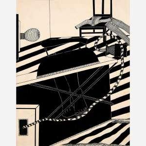 """Wanda Pimentel - Da Série """"Do caminho ao elo sobre - humano""""Nanquim sobre papel. Assinado, datado 66 e titulado no verso. 44 x 34 cm."""