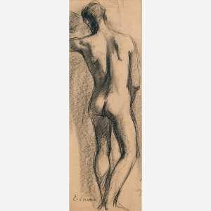 Eliseu Visconti - Carvão sobre papel. Assinado inferior esquerdo. 44 x 14,5 cm.