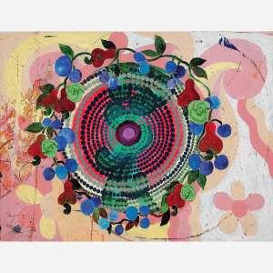 Beatriz Milhazes - A laranja. Acrílica sobre tela. Assinado, datado 1996 e titulado no verso. 70 x 92 cm.