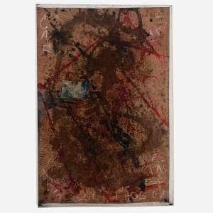 Artur Barrio - Acrílica, colagem e pigmentos naturais sobre cartão. Assinado e datado 1999/2000 superior direito. 114 x 79 cm.