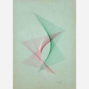 João José - Guache sobre papel. Assinado e datado 54 inferior direito. 33 x 23 cm.
