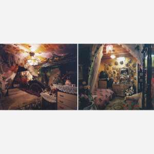 Rochelle Costi - Mudanças – decoração Antes / Depois. C-print montado sobre alumínio. Díptico. Assinadas, datadas 1998/2000 e numeradas 1/3 no verso. 124 x 306 cm. 124 x 153 cm (cada).