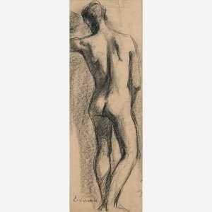 Eliseu Visconti - Carvão sobre papel. Assinado inferior esquerdo. 44 x 15 cm.