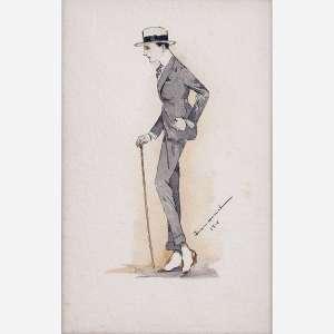 Ismael Nery - Aquarela e nanquim sobre papel. Assinado e datado 1918 inferior direito. 21,5 x 14 cm.