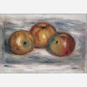 Pierre-Auguste Renoir - Trois pommes. Óleo sobre tela. Assinado inferior direito. 18,3 x 27 cm.