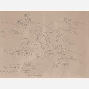 Tarsila do Amaral - Crianças a beira do lago com animais, Circa 1941 Nanquim sobre papel. Assinado e com dedicatória inferior esquerdo. 21 x 26 cm.
