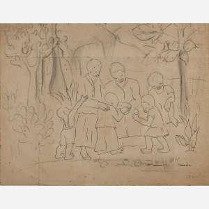 Tarsila do Amaral - Gente do povoado Grafite e nanquim sobre papel. Assinado inferior direito. 23 x 31 cm.