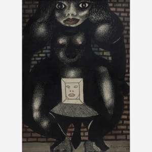 Emiliano Di Cavalcanti - Nanquim e aquarela sobre papel. Assinado e datado 69 inferior direito. 31 x 23 cm.
