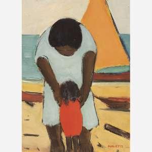 José Pancetti - Mãe e filha na praia. Óleo sobre papel. Assinado inferior direito. Assinado, datado 13-3-1955 e situado Rio no verso. 32,5 x 23,5 cm.