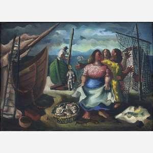 Emiliano Di Cavalcanti - Pescadores. Óleo sobre tela. Assinado inferior direito. Assinado, datado 1946, titulado e situado Rio no verso. 32 x 46 cm.