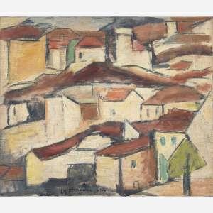 Aldo Bonadei - Casario. Óleo sobre tela. Assinado e datado 69 inferior esquerdo. Assinado e datado 1969 no verso. 40 x 48 cm.