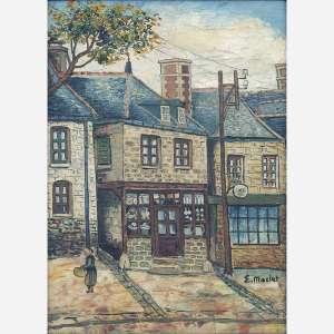 Elisée Maclet - Route de village au crepuscule. Óleo sobre tela. Assinado inferior direito. 46 x 33 cm.