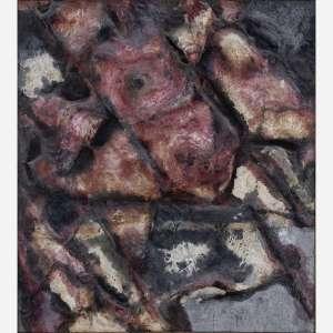 Frans Krajcberg - Pigmentos naturais sobre papel artesanal moldado colado em tela. Assinado e datado 63 no verso. 71 x 64 cm.