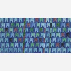 Alfredo Volpi - Bandeirinhas estruturadas com mastros, meados da década de 70. Têmpera sobre tela. Assinado no verso. 66,8 x 135,4 cm.
