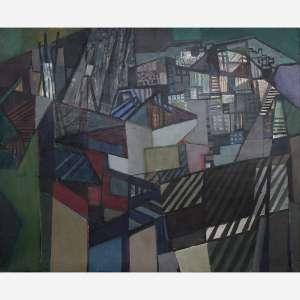 Roberto Burle Marx - Cidade. Óleo sobre tela. Assinado e datado 1977 inferior direito. 125 x 153 cm.