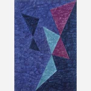 Alfredo Volpi - Elementos Geométricos, início da década de 70. Têmpera sobre tela. Assinado no verso. 120 x 81,5 cm.