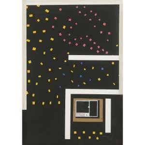 ANTONIO MANUEL - Sobre o Céu do Rio. Guache e colagem sobre papel. Assinado e datado 1995 inferior direito. Assinado, datado 1995 e titulado no verso. 67 x 47 cm. R$ 16.000 / 22.000