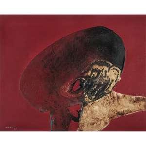 MANABU MABE - Óleo sobre tela. Assinado e datado 69 inferior esquerdo. Assinado e datado 1969 no verso. 81 x 100 cm. R$ 40.000 / 60.000