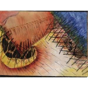 CILDO MEIRELES - Pastel e colagem sobre papel. Assinado inferior esquerdo. Assinado e datado 73 no verso. 28 x 38 cm. R$ 20.000 / 25.000