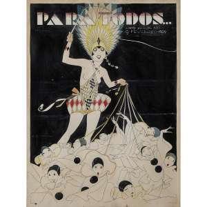 """J. CARLOS - Ilustração para a capa da revista """"PARA TODOS"""". Edição de 09 de fevereiro de 1929. Aquarela e nanquim. Assinado lateral esquerda. 47 x 34 cm. R$ 4.000 / 6.000"""