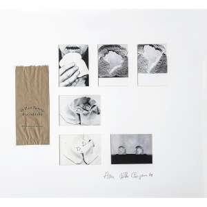 ANNA BELLA GEIGER - O Pão Nosso de Cada Dia. Montagem de saco de papel e cartões postais. Assinado e datado 78 inferior direito. 75 x 80 cm. R$ 35.000 / 45.000