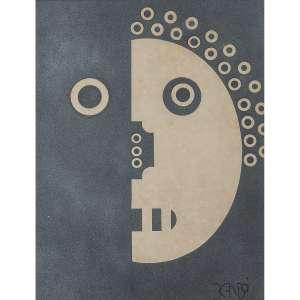 NIOBE XANDÓ - Máscara. Tinta spray sobre papel. Assinado inferior direito. Assinado, datado 1971 e situado SP no verso. 46 x 35 cm. R$ 2.000 / 4.000