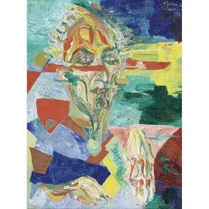 """FLÁVIO DE CARVALHO - Retrato do Psicanalista Frank Julian Philips. Óleo sobre tela. Assinado e datado 1972 superior direito. 90 x 67 cm. R$ 3.500.000 / 4.500.000 - Participou da XVII Bienal de São Paulo, 14/10/1983 a 18/12/1983. Participou da exposição """"Brasil: Psicanálise e Modernismo"""" no MAM-SP. Reproduzido no catálogo da exposição """"Brasil: Psicanálise e Modernismo"""", p. 170. Participou da exposição """"Flávio de Carvalho a revolução modernista no Brasil"""", Curadoria de Luzia Portinari Greggio, no Centro Cultural Banco do Brasil, Brasília – DF, 7 de fevereiro a 29 de abril de 2012. Reproduzido no livro Flávio de Carvalho a Revolução Modernista no Brasil, Luzia Portinari Greggio, p.32."""