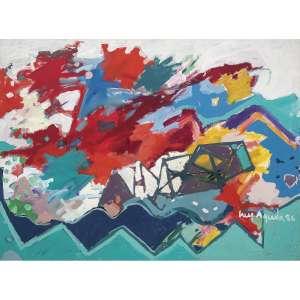 LUIZ ÁQUILA - Nave da Pintura. Acrílica encerada sobre tela. Assinado e datado 86 inferior direito. Assinado, datado 1986 e titulado no verso. 140 x 180 cm. R$ 10.000 / 15.000