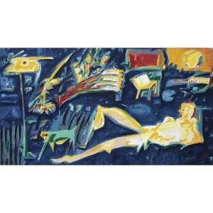 IVALD GRANATO - A Visão de Pistoletto. Acrílica sobre tela. Assinado e datado 89 inferior direito. Assinado, datado 1989, titulado e situado SP – Brasil no verso. 139 x 262 cm. R$ 30.000 / 40.000 - Participou da exposição individual do artista no Subdistrito Comercial de Arte, 1989