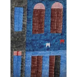 ALFREDO VOLPI - Fachada, final década de 60. Têmpera sobre tela. Assinado no verso. 47 x 34 cm. R$ 400.000 / 500.000