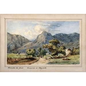 C. ARGENTI - Fazenda da Guia, Caminho de Petrópolis, circa 1850. Aquarela sobre papel. Titulado parte inferior. 15 x 22 cm. R$ 8.000 / 12.000