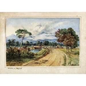 C. ARGENTI - Caminho de Petrópolis, circa 1850. Aquarela sobre papel. Titulado inferior esquerdo. 16 x 22 cm. R$ 8.000 / 12.000