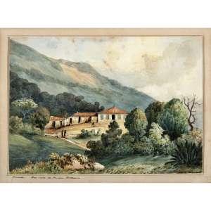 C. ARGENTI - Fazenda Boa Vista do Jardim Botânico, circa 1850. Aquarela sobre papel. Titulado inferior esquerdo. 18 x 25 cm. R$ 9.000 / 13.000